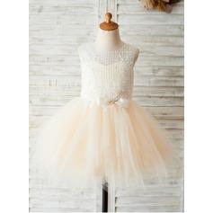 Forme Princesse Longueur genou Robes à Fleurs pour Filles - Tulle/Dentelle Sans manches Col rond avec À ruban(s)
