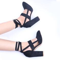 Naisten Mokkanahka Chunky heel Avokkaat jossa Nauhakenkä kengät