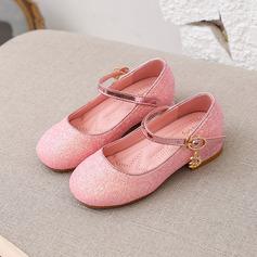 Jentas Round Toe Lukket Tå Leather lav Heel Flate sko Sneakers & Athletic Flower Girl Shoes med Spenne Glitrende Glitter