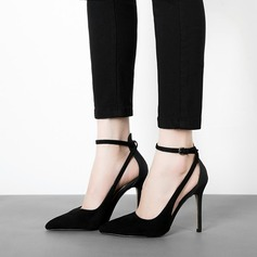 Women's Suede Stiletto Heel Pumps Closed Toe shoes (085103655)