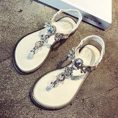Mulheres Couro Sem salto Peep toe Sandálias Sapatos abertos Beach Wedding Shoes com Strass