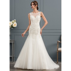 Trumpet/Mermaid Scoop Neck Court Train Tulle Wedding Dress (002145309)