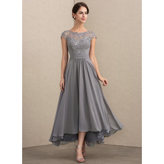 A-Line Scoop Neck Asymmetrical Chiffon Lace Evening Dress (017192576)