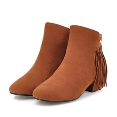 Femmes Suède Talon bas Bottes avec Rivet Zip Tassel chaussures