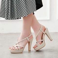 Vrouwen Kunstleer Chunky Heel Sandalen Pumps Plateau met Hol-out schoenen