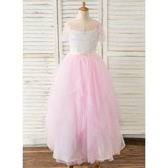 A-Line Floor-length Flower Girl Dress - Satin/Tulle Short Sleeves Sweetheart With Beading