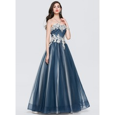 Ball-Gown/Princess Sweetheart Floor-Length Tulle Prom Dresses With Ruffle Beading Sequins (018147830)