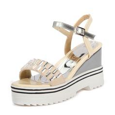 Женщины PU Вид каблука Сандалии Танкетка Открытый мыс Босоножки с пряжка обувь