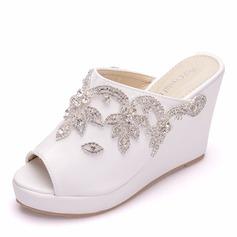 Kvinder Kunstlæder Kile Hæl Kigge Tå sandaler Kiler med Crystal