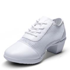 Frauen Kunstleder Mesh Moderner Style Jazz Sneakers Tanzschuhe