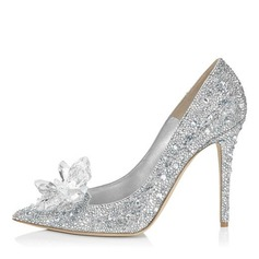 Women's Leatherette Stiletto Heel Closed Toe Pumps With Rhinestone Crystal