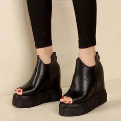 Frauen Kunstleder Flache Schuhe Peep Toe mit Reißverschluss Hohl-out Schuhe