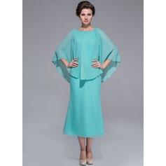 Vestidos princesa/ Formato A Decote redondo Comprimento médio De chiffon Vestido para a mãe da noiva