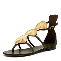 Kvinner Semsket Flat Hæl Sandaler Flate sko Titte Tå sko
