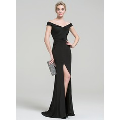 Sheath/Column Off-the-Shoulder Sweep Train Jersey Prom Dress With Ruffle Split Front (018112728)