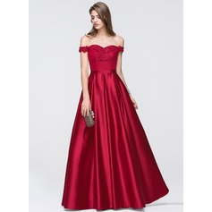 A-Linie/Princess-Linie Off-the-Schulter Bodenlang Satin Abiballkleid mit Perlstickerei Pailletten