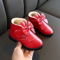 Girl's Round Toe Closed Toe Leatherette Flat Heel Boots Flower Girl Shoes With Bowknot