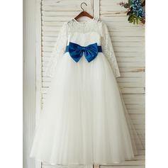 Corte A/Princesa Hasta el suelo Vestidos de Niña Florista - Tul/Encaje Manga larga Escote redondo con Fajas (010122563)