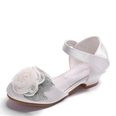 Girl's Round Toe Closed Toe Leatherette Flats With Velcro