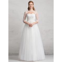 De baile Amada Longos Tule Vestido de noiva com Pregueado Renda Beading Apliques de Renda lantejoulas