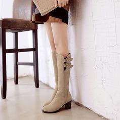 Naisten Mokkanahka Chunky heel Kengät Knee saappaat jossa Solki Vetoketju kengät