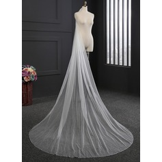 One-tier Sequin Trim Edge Cathedral Bridal Veils With Sequin