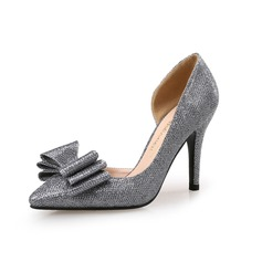 Women's Sparkling Glitter Stiletto Heel Pumps Closed Toe With Bowknot shoes (085095330)