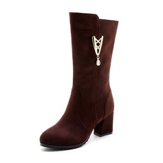 Frauen Veloursleder Stämmiger Absatz Absatzschuhe Stiefel Stiefel-Wadenlang mit Strass Reißverschluss Schuhe