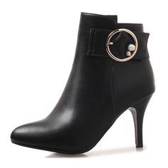 Donna Similpelle Tacco a spillo Stiletto Punta chiusa Stivali Stivali alla caviglia Stivali altezza media con Fibbia Cerniera scarpe
