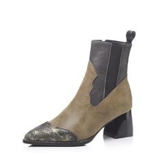 Frauen Kunstleder Stämmiger Absatz Stiefel Stiefelette mit Zweiteiliger Stoff Schuhe