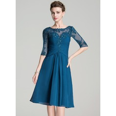 Vestidos princesa/ Formato A Decote redondo Coquetel De chiffon Vestido para a mãe da noiva com Pregueado Bordado Apliques de Renda lantejoulas