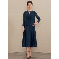 A-Linie U-Ausschnitt Wadenlang Chiffon Kleid für die Brautmutter mit Perlstickerei Pailletten