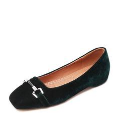 Frauen Stoff Flascher Absatz Flache Schuhe Geschlossene Zehe mit Schnalle Schuhe