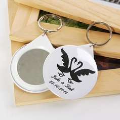 Personalized Swan Design Plastic Keychains/Compact Mirror (Set of 5)