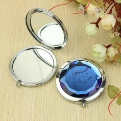 Personalizado Diamante de cristal Aço inoxidável Espelho Compacto