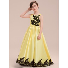 A-Line/Princess Floor-length Flower Girl Dress - Satin/Lace Sleeveless Square Neckline