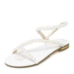 Frauen PU Flascher Absatz Sandalen Flache Schuhe Peep Toe Slingpumps mit Nachahmungen von Perlen Schuhe
