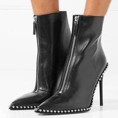 Kvinnor Äkta läder Stilettklack Pumps Halva Vaden Stövlar med Zipper Andra skor