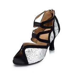 Mulheres Espumante Glitter Saltos Sandálias Latino Sapatos de dança