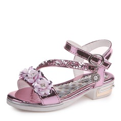 Girl's Peep Toe Leatherette Low Heel Sandals Flats Flower Girl Shoes With Sequin Flower