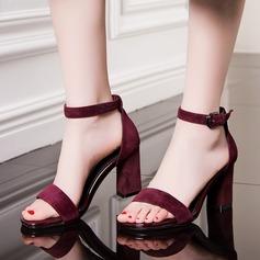 Femmes Suède Talon bottier Sandales Escarpins chaussures (087124344)