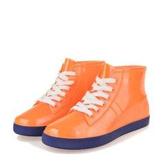 Femmes PVC Talon plat Bottes Bottes mi-mollets Bottes de pluie avec Dentelle chaussures