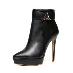 Mulheres Couro verdadeiro Salto agulha Botas com Ruched sapatos