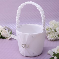 Elegant Flower Basket in Satin With Rhinestones
