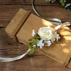 Lovely Silk linen Wrist Corsage/Boutonniere - Wrist Corsage/Boutonniere (123123067)