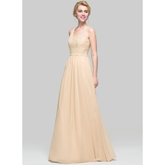 A-Line/Princess V-neck Floor-Length Chiffon Bridesmaid Dress (007094025)