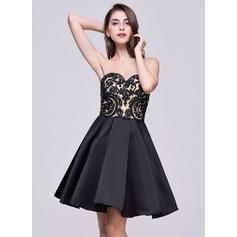 Vestidos princesa/ Formato A Coração Curto/Mini Cetim Renda Vestido de boas vindas com Curvado