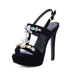Mulheres Camurça Salto agulha Sandálias Plataforma Peep toe com Strass sapatos