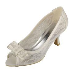 Frauen Spitze Satin Kätzchen Absatz Peep Toe Absatzschuhe Sandalen mit Des Bowknot