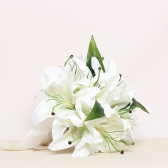 Elegant/Lily Round Satin Bridesmaid Bouquets (123031490)